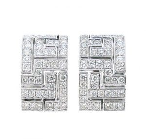 Geometric Pattern Diamond Huggie Earrings | B13329