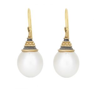 Yellow gold south sea pearl earrings | B15024