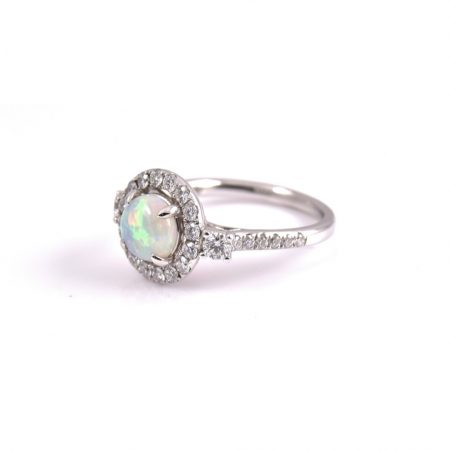Opal And Diamond Halo Ring | B15108