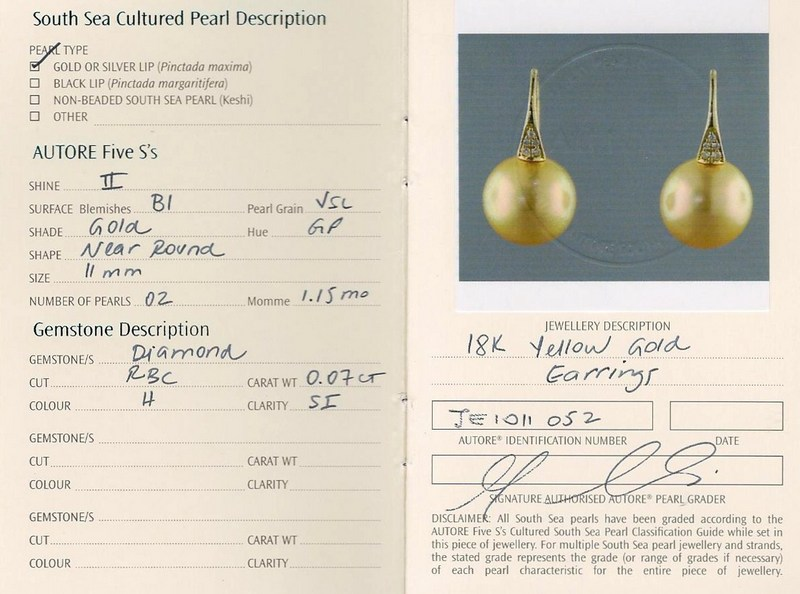 gold south sea pearl Autore earrings B15158