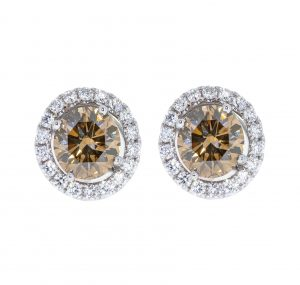 cognac diamond earrings | B17184
