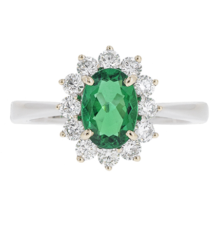 Emerald And Diamond Halo Ring | B18969