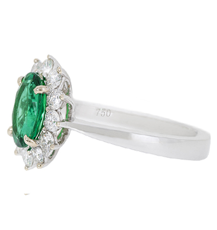 emerald and diamond ring | B18969