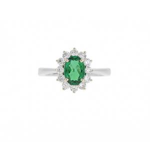 Emerald And Diamond Halo Ring   B18969
