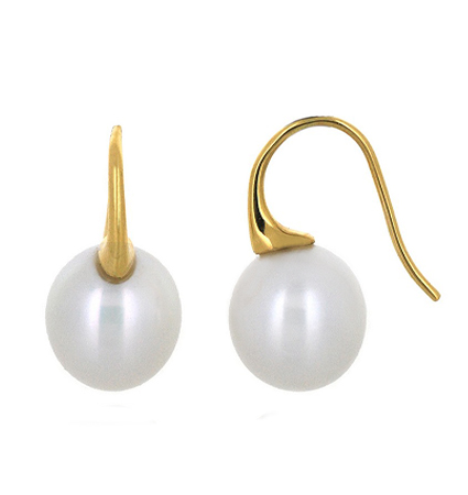 Yellow gold south sea pearl earrings | B19482