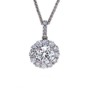 Halo diamond pendant | B19581