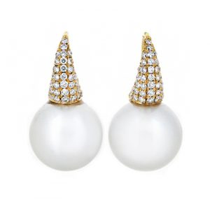 Yellow Gold South Sea Pearl Earrings | B19948