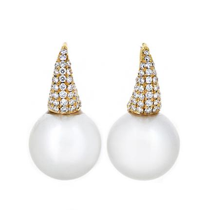 Yellow Gold South Sea Pearl Earrings | B19948