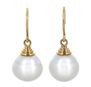 Yellow Gold South Sea Pearl Earrings | B20068