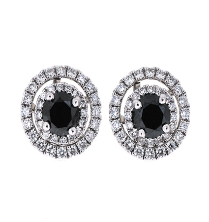 Black Diamond Double Halo Earrings | B20140