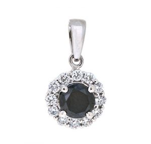 Black diamond halo pendant | B20146