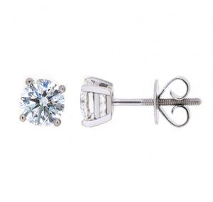 Four Claw Round Brilliant Diamond Stud Earrings | B20540