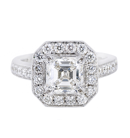 asscher cut halo diamond engagement ring | B20486