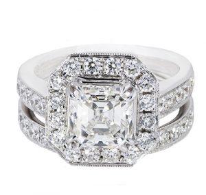 Asscher Cut Halo Diamond Engagement And Wedder Rings | B20486
