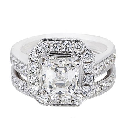 Asscher Cut Halo Diamond Engagement Ring And Wedder Set | B20486