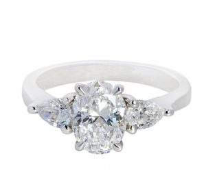 Oval Cut and Pear Shape Diamond Engagement Ring   B20444