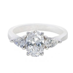 Oval Cut and Pear Shape Diamond Engagement Ring | B20444
