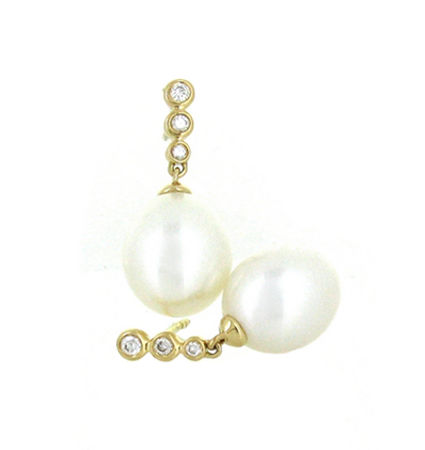 Yellow Gold Fresh Water Pearl Earrings | B18191(1)