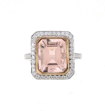 Morganite And Diamond Deco Style Ring | B19053