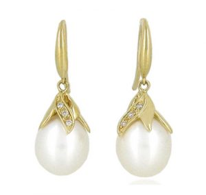 Yellow Gold Fresh Water Pearl Earrings | B19297