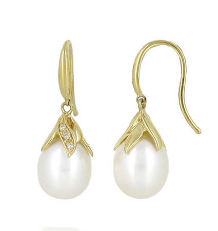 Yellow Gold Fresh Water Pearl Earrings | B19297(1)