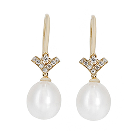 Yellow Gold Fresh Water Pearl Earrings | B20583