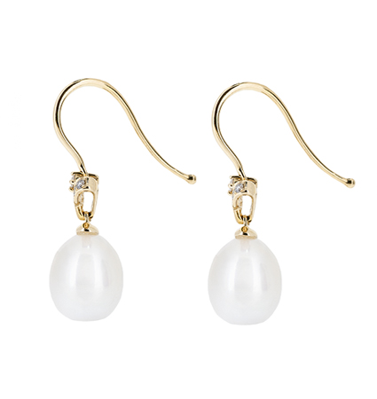 Yellow Gold Fresh Water Pearl Earrings | B20583(1)