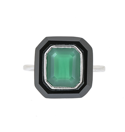 Onyx And Green Agate Ring | B20634