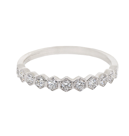 Hexagonal Style Diamond Set Wedding Ring | B20678