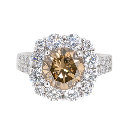 cognac diamond engagement ring | B20709