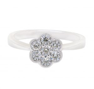 Flower cluster diamond ring | B16470