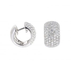 pave set diamond huggie earrings | B20338