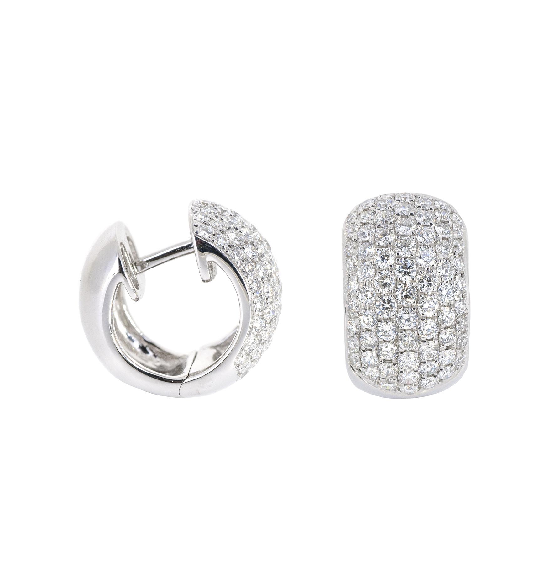 pave set diamond huggie earrings   B20338