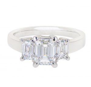 emerald cut trilogy diamond engagement ring   B20733