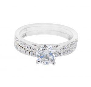 Diamond Engagement Ring with Matching Wedding Band   B20741