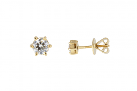 Yellow Gold Six Claw Diamond Stud Earrings | B19665