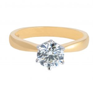 classic six claw tapering solitaire diamond engagement ring | B20791
