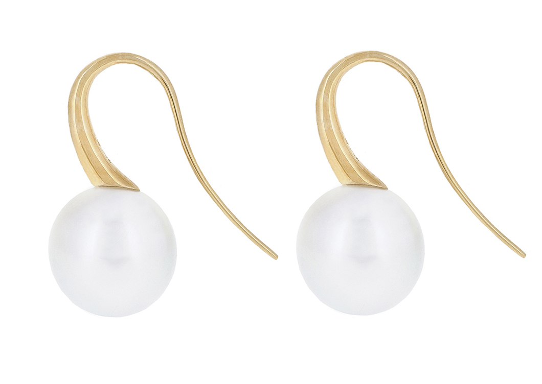 Yellow Gold South Sea Pearl Earrings | B20722