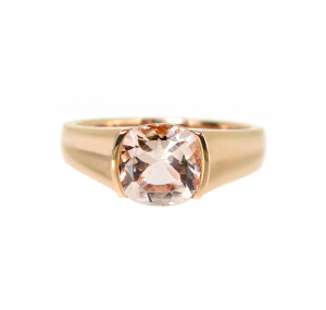 cushion cut morganite ring | B20758