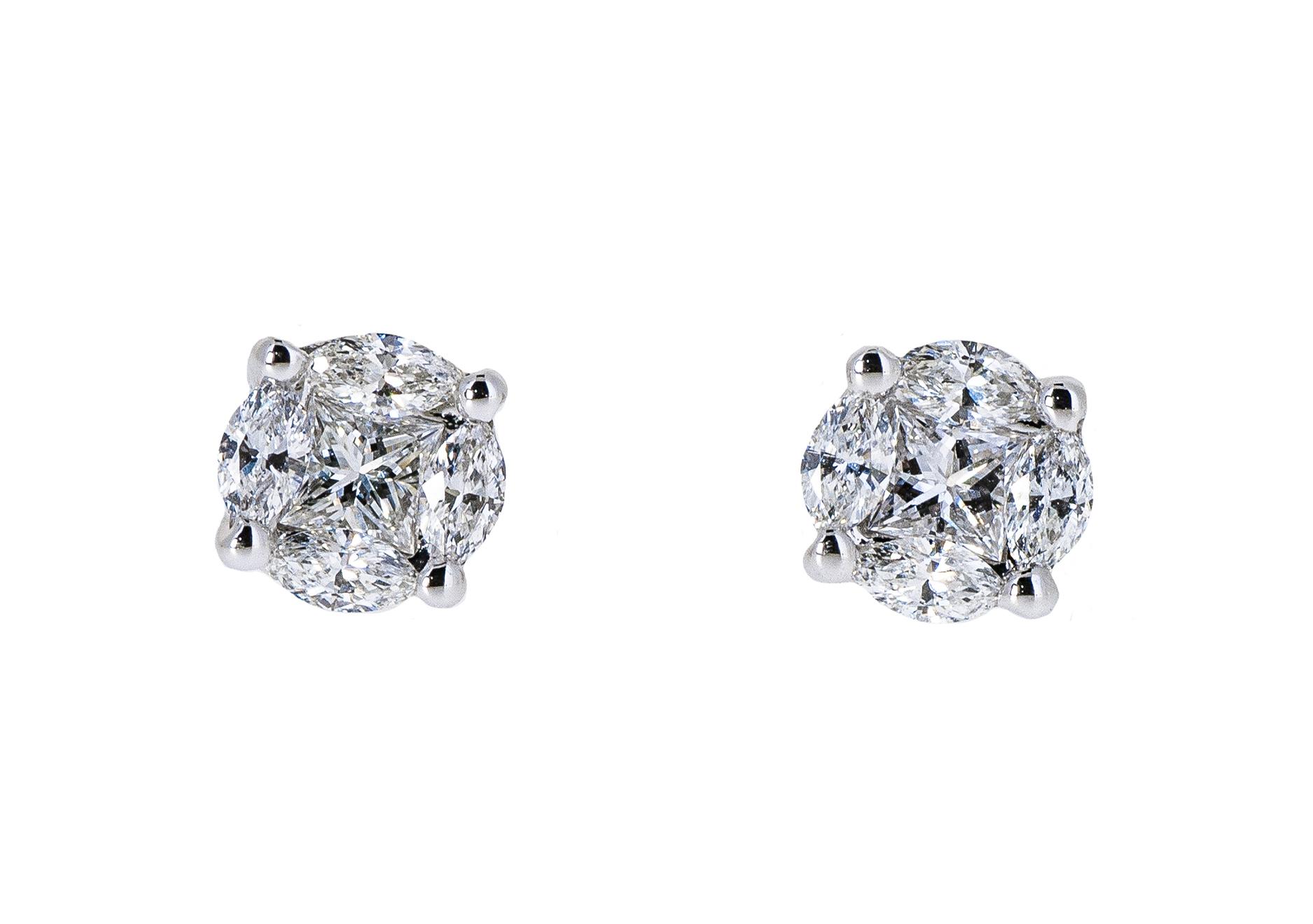 illusion set diamond stud earrings | B20760