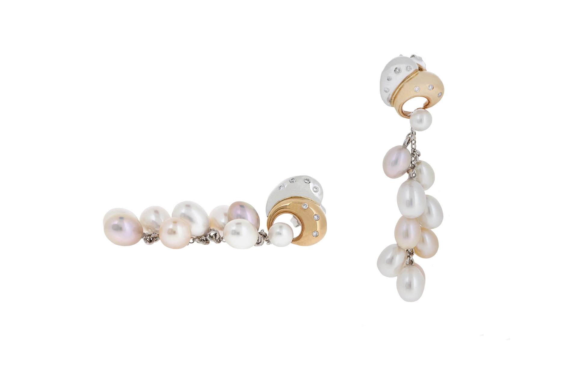Two Tone Fresh Water Pearl Earrings | B20766