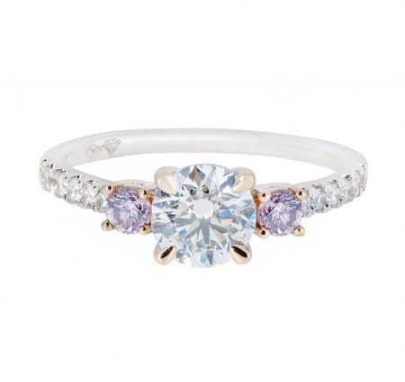 Round Brilliant Engagement Ring With Pink Diamonds | B20792