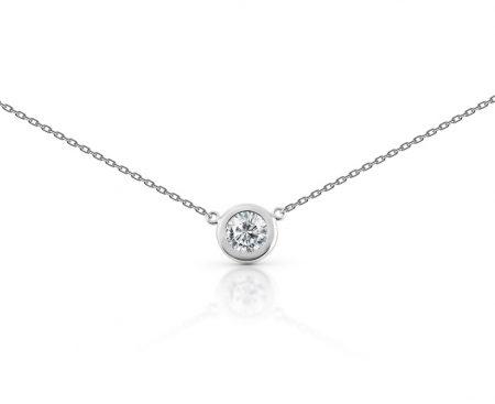Bezel Set Diamond Platinum Necklace | B22380