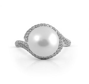 South Sea Pearl And Diamond Twist Ring | B20815