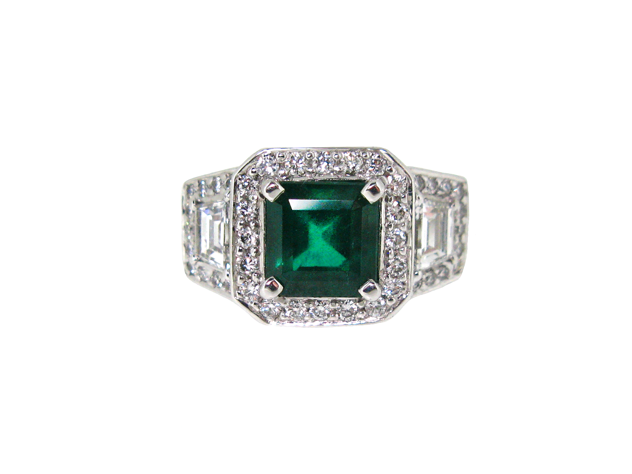 Emerald And Diamond Art Deco Style Ring | B19212