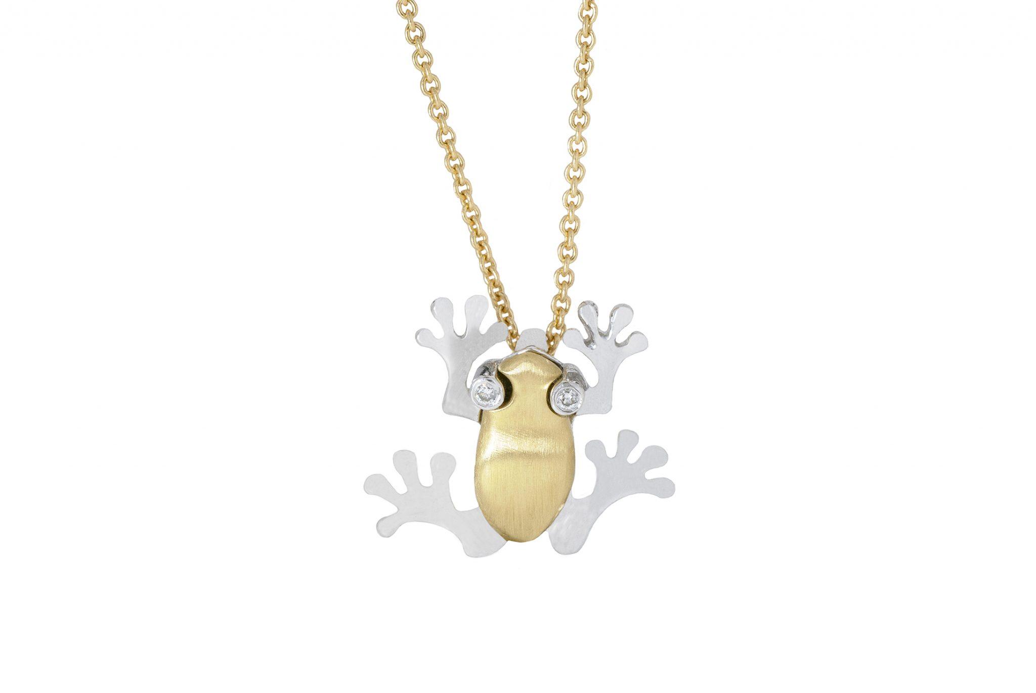 diamond frog necklace | B20729