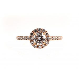 Rose Gold Halo Diamond Engagement Ring | B20902