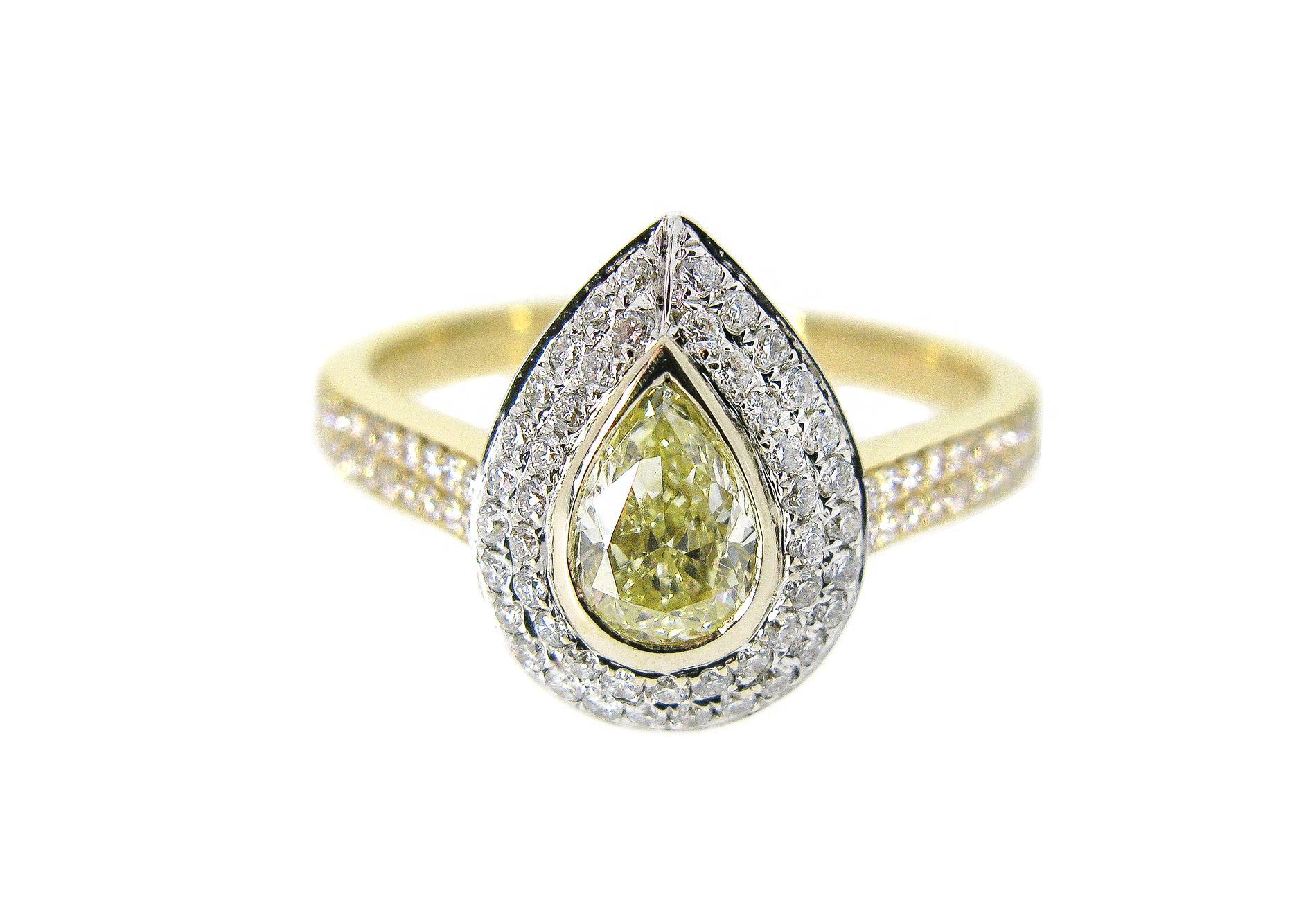 pear shaped yellow diamond halo ring | B20953