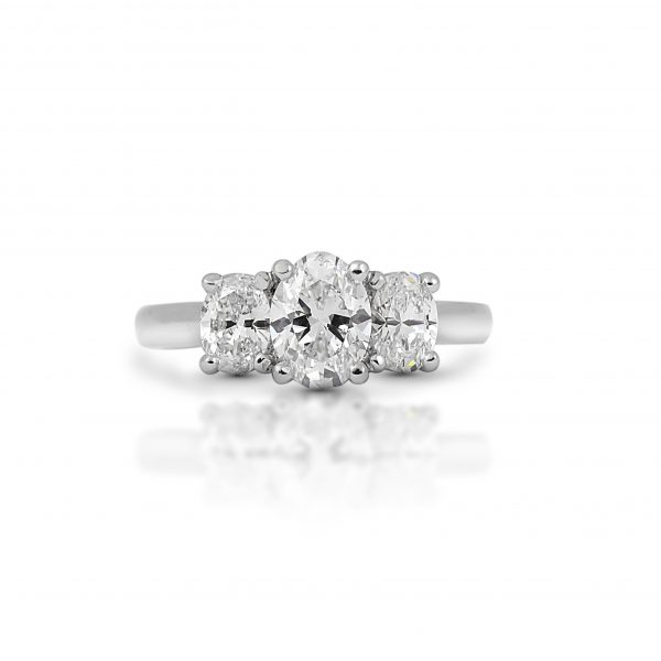 Oval Cut Diamond Trilogy Engagement Ring | B2274