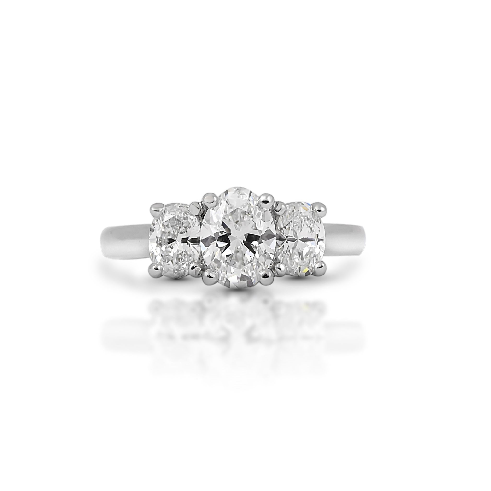 Oval Cut Diamond Trilogy Engagement Ring | B22161